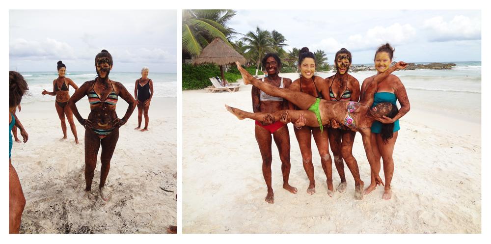 Coffee grinds body scrub on the beach, so much fun!